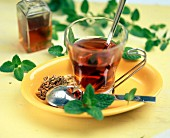 Herbal tea with gentian and mint
