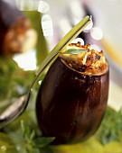 Feta-stuffed aubergines