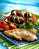 Roast swordfish with baked vegetables