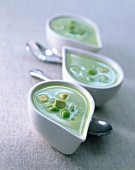 Broad bean soup with avocado, peas and olive oil