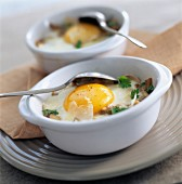 Coddled eggs with capers