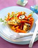 Glasiertes Karottengemüse mit Grapefruit und Kerbel, Saltimbocca mit Boursin Knoblauch und feine Kräuter