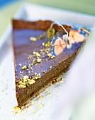 Slice of tea-flavoured chocolate tart