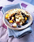 Peach and chocolate crumble