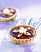 individual chocolate and almond tarts