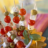Cherry tomato, feta and olive skewers