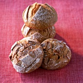 Round loaves of organic bread