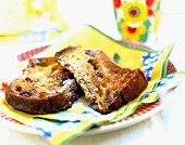 Slices of Panettone bread and butter pudding
