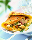 Vegetable and tuna omelette