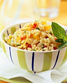 Wheat tabouleh with lemon and mint