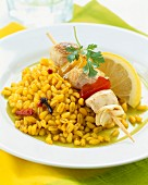 Wheat with poultry kebabs