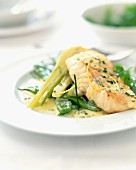 Cod steak with fennel and broad beans