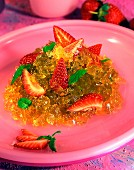 Agar jelly with green tea and strawberries