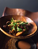 Buckwheat pasta salad with porcini mushrooms in sesame sauce
