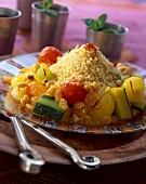 saffron-flavored vegetable couscous with dried fruit