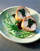 Saddle of rabbit with green stuffing