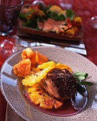 Pineapple ostrich steak with wine sauce