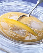 Chilled mango and melon soup