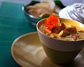 Coconut milk soup with prawns