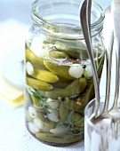 Gherkins and baby onions pickled in vinegar