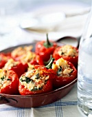 Baby sweet peppers stuffed with cod