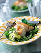 Haddock with cabbage and garlic cream