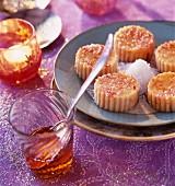 Individual semolina puddings with saffron and coconut milk