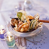 Vegetable tempura with herbs and prawns