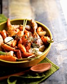 Roast guinea-fowl and carrots