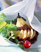 Belle-Hélène en papillote pear dessert