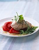 Tuna steak and marinated peppers