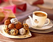 Cup of coffee and chocolate truffles