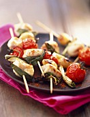Chicken kebabs with olive oil