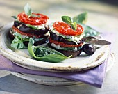 Eggplant, tomato and mozzarella Mille-feuille with pistou