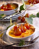 Crème brûlée with caramelized grapes