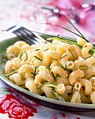 Cavatappi pasta with leeks and sweet onions