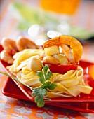 Casapeccia pasta with coconut and prawn purée