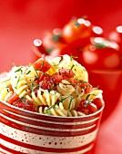 Fusilli with raw tomato