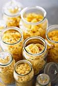 Jars of dry pasta