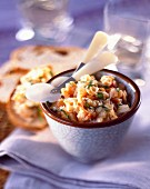 Potted seafood on crostinis