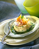 Flavored polenta with haddock