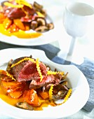 Ostrich steak with stewed pumpkin