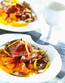 Ostrich steak with stewed pumpkin