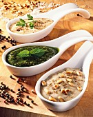 Mushroom sauce,roquefort sauce and pesto sauce