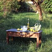 Salatzutaten auf einem Holztisch in der Wiese