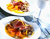 Ostrich steak with stewed pumkin