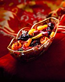 Dried fruit salad with rose petals