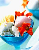Lime, strawberry and melon ice cream