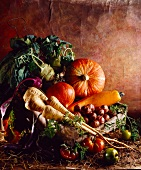 Still life of old-fashioned vegetables