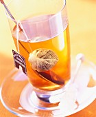 Cup of tea with tea bag and spoon